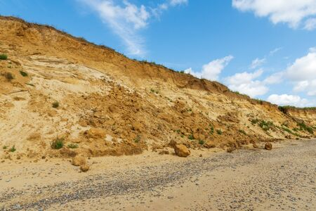 Rockfall due to erosion caused by rising sea levels at Covehithe Suffolk, UK
