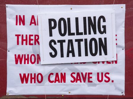 A sign outside a Polling station poses an interesting question for the voters casting their votes