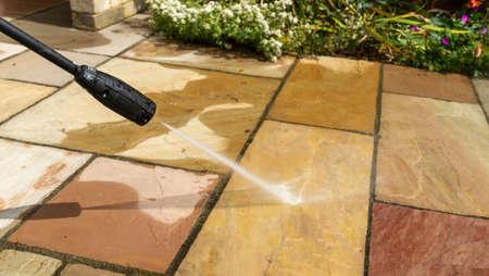Jet or Pressure washing garden paving