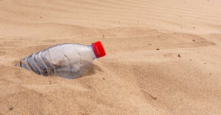 A discarded plastic water bottle lies half buried in the sand on a beach