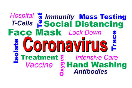 A Word Cloud illustrates various solutions and mitigations for the Coronavirus Pandemic