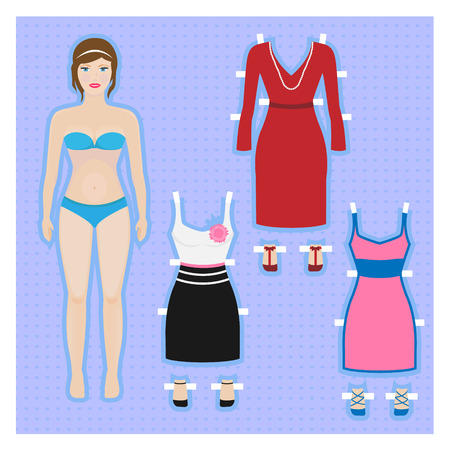 feather boa: Cute dress up paper doll Body template