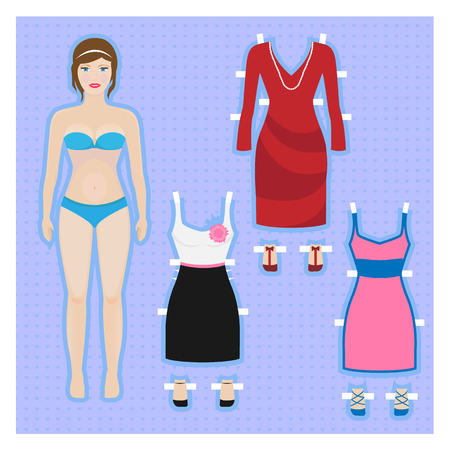young girl underwear: Cute dress up paper doll Body template
