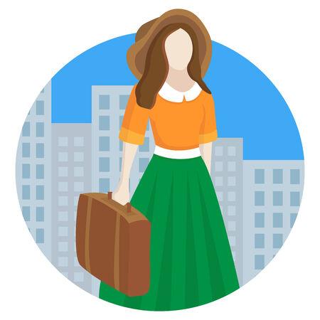 beauty women: mujeres de la belleza del vector con el equipaje