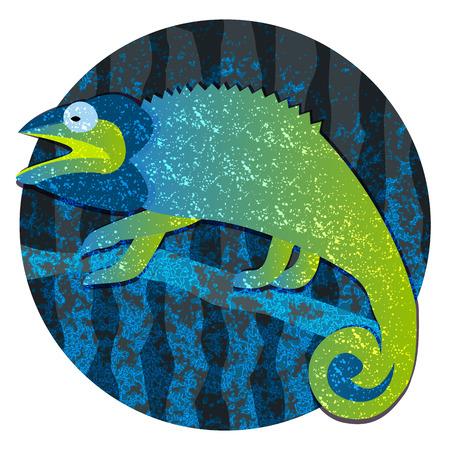 chameleon lizard: Cartoon chameleon lizard, image into circle isolated