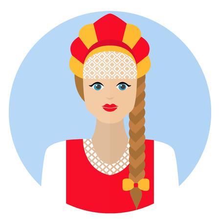 kokoshnik: Girl in Russian folk dress sarafan. Flat icon. Vector  illustration on a white background.