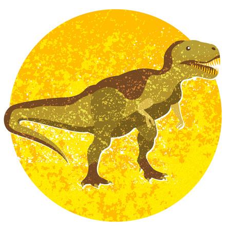 tyrannosaur: Cartoon tyrannosaur, image with dinosaur into circle isolated Illustration