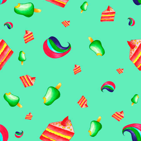 Seamless pattern with desserts, cakes and fruit