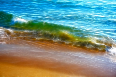 Fractal Background Texture. The sand shines through the Water. White Foam on the Crest of the Wave. Water runs into Wet Sand. Sand Shoreline