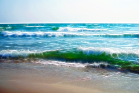 Fractal Background. Raging sea on a sunny windy day. Large waves with white foam on the crest rise above the surface of the water and run to the shore. The sand shines through the Water. White Foam on the Crest of the Wave. Water runs into Wet Sand