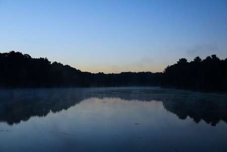 Misty morning over a quiet pond. Calm water reflects the dark silhouette of the forest. USA, State of Michigan.