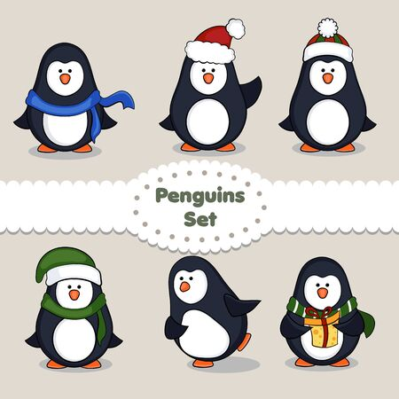 pinguinos navidenos: Penguins Collection. Penguins set isolated. Vector illustration for Christmas design. Vectores