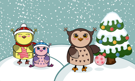 newyears: Christmas card with owls. Vector illustration. Winter landscape with funny owls . Merry Christmas and a Happy New-Years greeting sweet postcard.