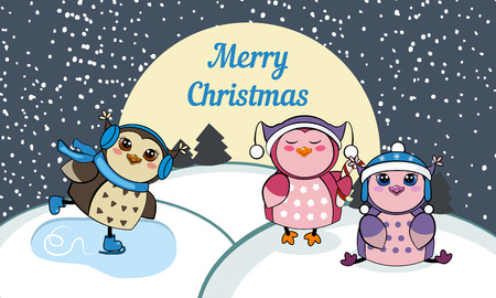 Christmas card with owls. Vector illustration. Winter landscape with funny owls . Merry Christmas and a Happy New-Year's greeting sweet postcard.
