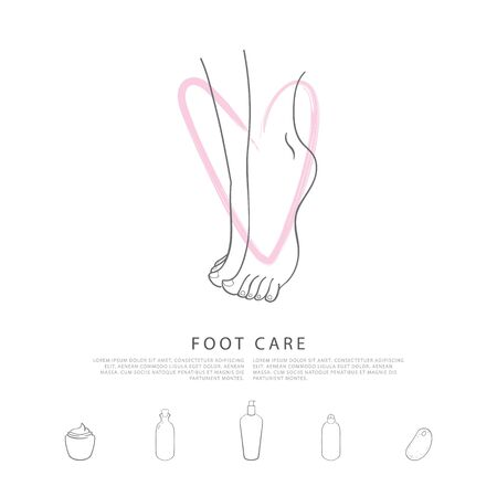 personal grooming: Foot care. Caring for the feet with love. A concept made in modern line style with palce for your text. Simple illustration with cosmetic items. Perfect for poster design. Illustration