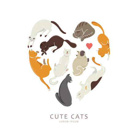 hobbyist: Colorful illustration with cats lying in the shape of a heart. Cute cartoon kitties with different colored fur. Good for greeting cards, posters emblem of the club.