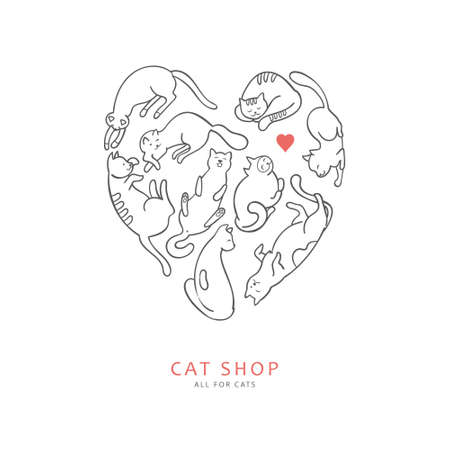 hobbyist: Concept of store for cats in a linear style. Cats lying in the shape of a heart with small red heart also suitable for emblem of club fans of cats. Illustration