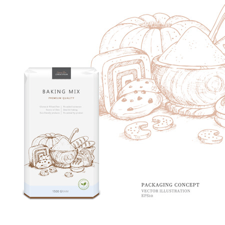 product mix: Design packaging concept for baking mix, flour or specific flour substitutes (wheat free, gluten free). template with scene of baked products in woodcut style. Eco-friendly product.