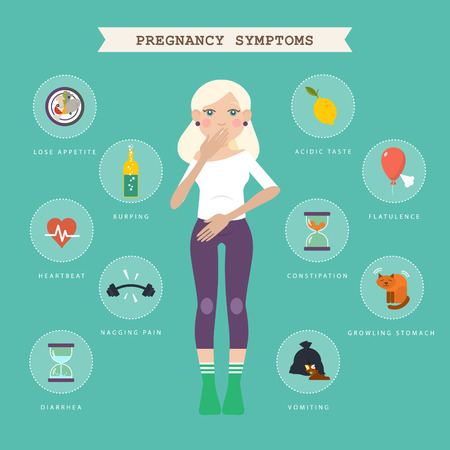burping: Pregnancy symptoms. Infographic with blond women and symbols. illustration about the state of women in the early stages of pregnancy. Diagnosis of early pregnancy.