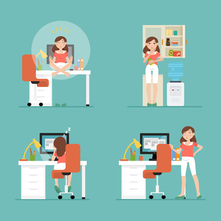 ergonomic: Work during pregnancy. Set with design of flat characters of pregnant women at workplaces: the relaxation, have a snack, fatigue, overtime. infographic about working process during pregnancy.