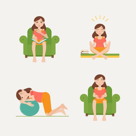 Voorbereidingen voor arbeidskrachten. Stel met een ontwerp van platte personages van zwangere vrouwen: houtkap, de ontspanning, oefening, de juiste ademhaling. infographic over voor te bereiden op de bevalling en arbeid.