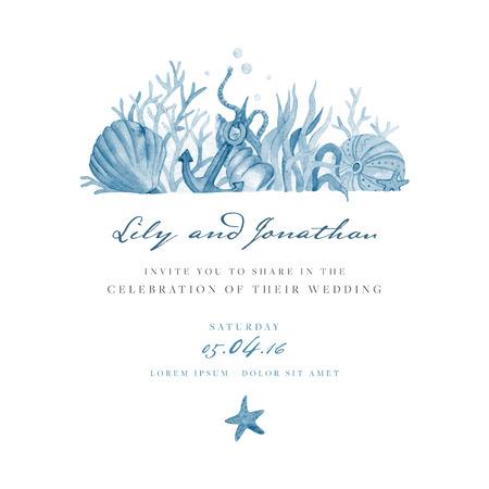 Marine zaproszenie na ślub. szablon z niebieskim akwarela ilustracja dna morskiego i rozgwiazdy. Zaproszenie łatwe edytowalne. Idealne na zaproszenie na ślub lub zapisać datę, RSVP.