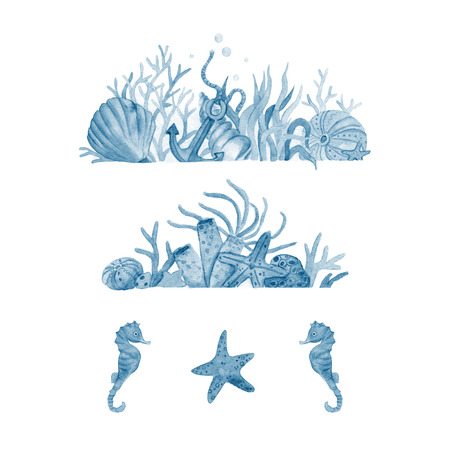 inhabitants: Watercolor set of illustrations with seabed and marine inhabitants: shells,corals, anchor, starfish, seaweed. Watercolor illustration isolated on white background. nautical collection.