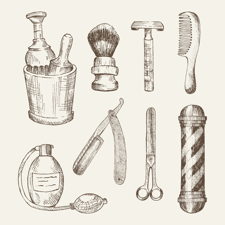 barbershop pole: Retro illustrations of barber shop elements: cup, brush, razor, comb, antique perfume bottle, scissors and barber pole. vintage set in woodcut style. Handdrawn objects.
