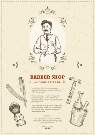 barbershop pole: The vintage template of barber shop flyers in woodcut style. Retro illustrations with text, hairdresser and tools: cup, brushes, razor, shaver. Easy editable. Classic style. Illustration
