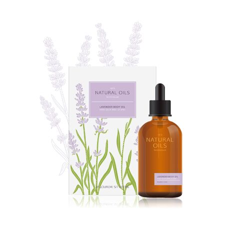 Packaging design of natural oils with lavender. mockup for a bottle of essential oil and packing box. Natural organic spa cosmetics with illustration of lavender in woodcut style. Easy edit.