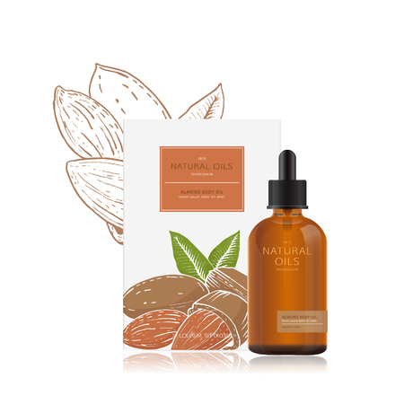 mockup of natural sweet almond oil for the bottle and packing box. Packaging design with illustration of almond in woodcut style. Natural organic spa cosmetics. Easy editing. Branding set.  イラスト・ベクター素材