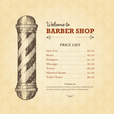 szablon sklepu fryzjerskiego ze słupem fryzjerskim w stylu drzeworyt. Retro ilustracje z informacjami i cennikiem. Łatwo edytowalne. Klasyczny styl. Ilustracje wektorowe