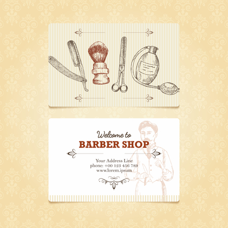 barbershop pole: The vintage template of business card for a barber shop. Retro illustration in woodcut style with place for your text. Easy editable.