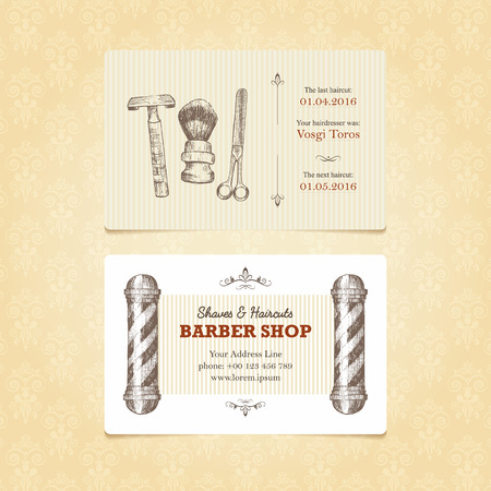 reminders: Business card in retro style for a barber shop. Vintage templates with a place for your text and reminders. Easy editable.