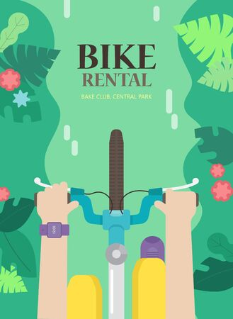 The bright concept the for bike rental. tourist background with bicycle and man in the urban environment, top view. Summer poster for hire bike tours for tourists and city visitors.