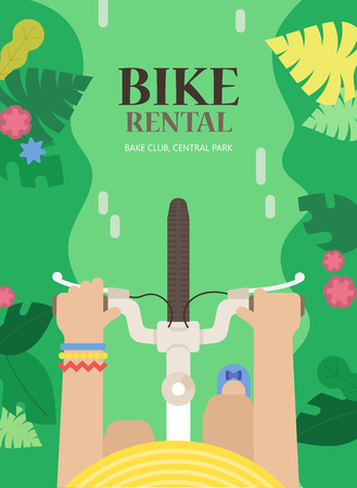 rolling landscape: tourist background with bicycle and woman in the urban environment, top view. The bright concept the for bike rental. Summer poster for hire bike tours for tourists and city visitors.