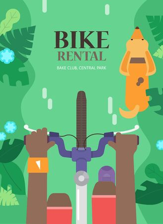 summer dog: Summer tourist concept of with bicycle, man and dog in the urban environment, top view. The background for bike rental. Bright poster for hire bike tours for tourists and city visitors. Illustration