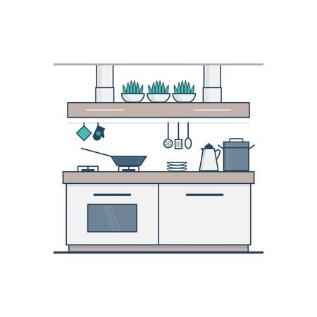 furnished: Kitchen design in linear flat style. Concept of modern apartment with utensils, furniture and interior decor. Perfect for website banners and promotional materials.