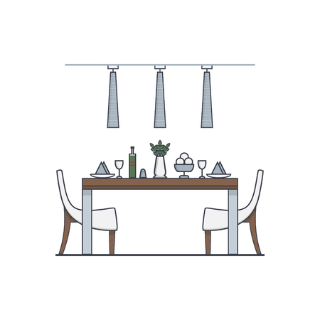dining room: Dining room design made in modern style linear vector. Concept of modern apartment with utensils, furniture and interior decor. Can be used for website banners and promotional materials.