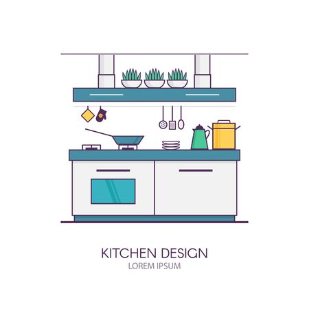 modern kitchen interior: Modern kitchen interior design in linear flat style. Concept of apartment with utensils, furniture and interior decor. Perfect for website banners and promotional materials. Illustration