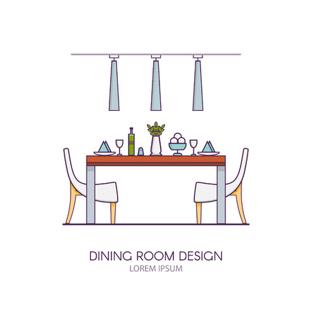 dining room: Modern dining room design made in style linear vector. Concept of modern interior apartment with utensils, furniture and interior decor. Can be used for website banners and promotional materials.