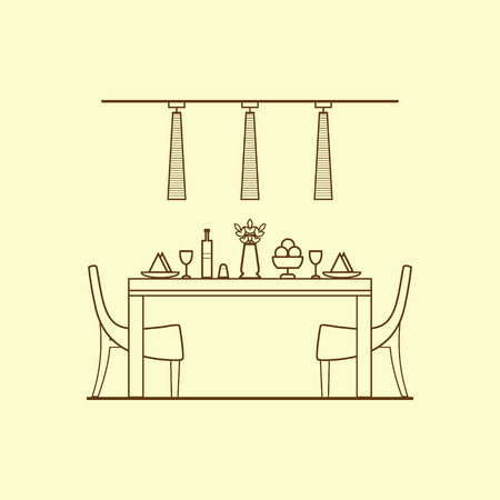 dining room: Dining room design made of thin line. Concept of dining room design with utensils, furniture and interior decor. Linear interior in flat style. Perfect for website banners and promotional materials. Illustration