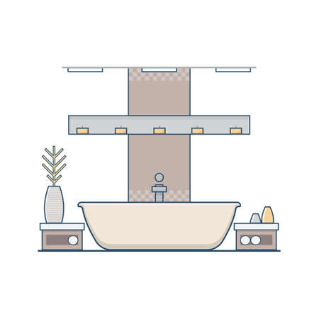 Bathroom Design In Linear Flat Style Concept Of Modern Apartment Unique Apartment Bathroom Designs Concept