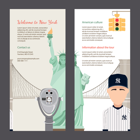 brooklyn: The trip to New York. Travel flyers with famous landmarks and symbols of USA: statue of Liberty, Brooklyn bridge, yellow lights, telescope of Top of the Rock. Easy editable template.