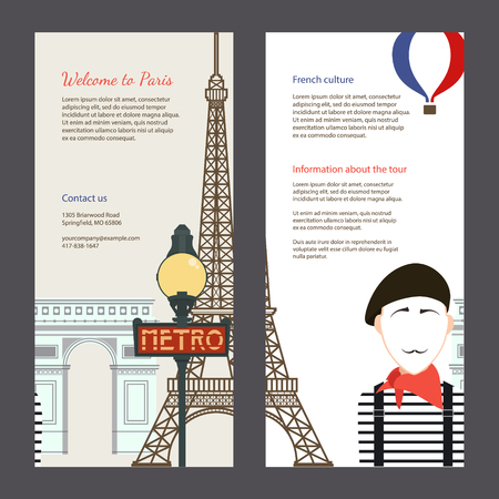 arc de triomphe: The trip to Paris. Travel flyer with famous landmarks of France: the Eiffel tower, the metro, the arc de Triomphe. Easy editable tourism template. Perfect for banners, posters.