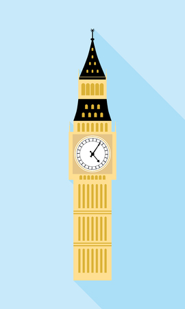 big ben london: Big Ben, London. A simple icon in flat style with shadow. Colorful vector illustration.