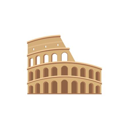 El Coliseo de Roma. icono del vector de colorido en estilo plano. monumentos arquitectónicos y turísticos.