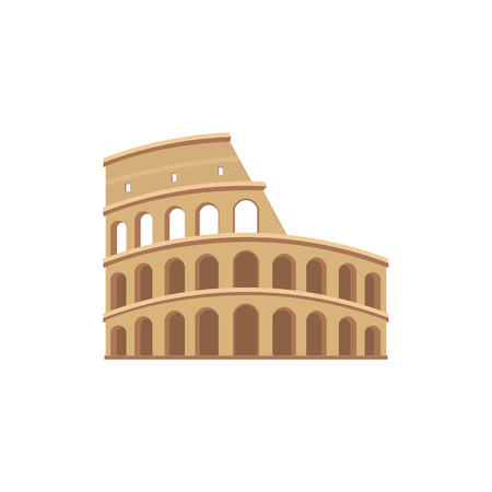 amphitheater: The Colosseum in Rome. Colorful vector icon in flat style. Architectural and tourist landmarks.