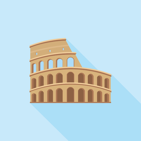 The Colosseum in Rome. A simple icon in flat style with shadow. Colorful vector illustration. Architectural and tourist landmarks.