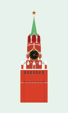 kreml: The Kremlin tower with clock in Moscow. Colorful vector icon in flat style.